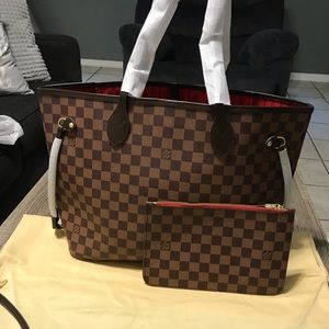 Louis Vuitton MM ebene damier Neverfull tote